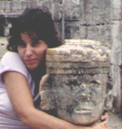 Marla with Chac Mool at Chichen Itza